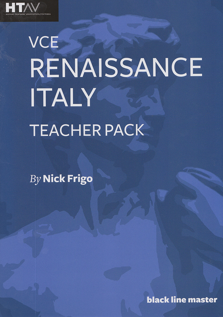 Front cover of the VCE Renaissance Italy Teacher Pack.