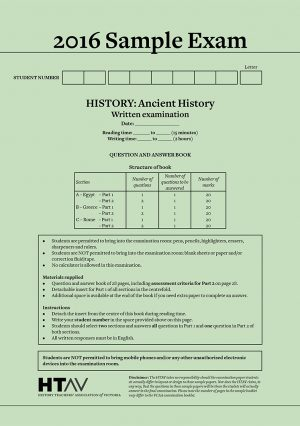 Front cover of 2016 HTAV Ancient History Sample Exam and Responses Guide.