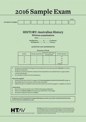 Front cover of 2016 HTAV Australian History Sample Exam and Responses Guide.