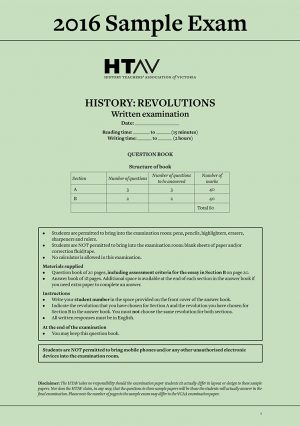 Front cover of 2016 HTAV Revolutions Sample Exam and Responses Guide.