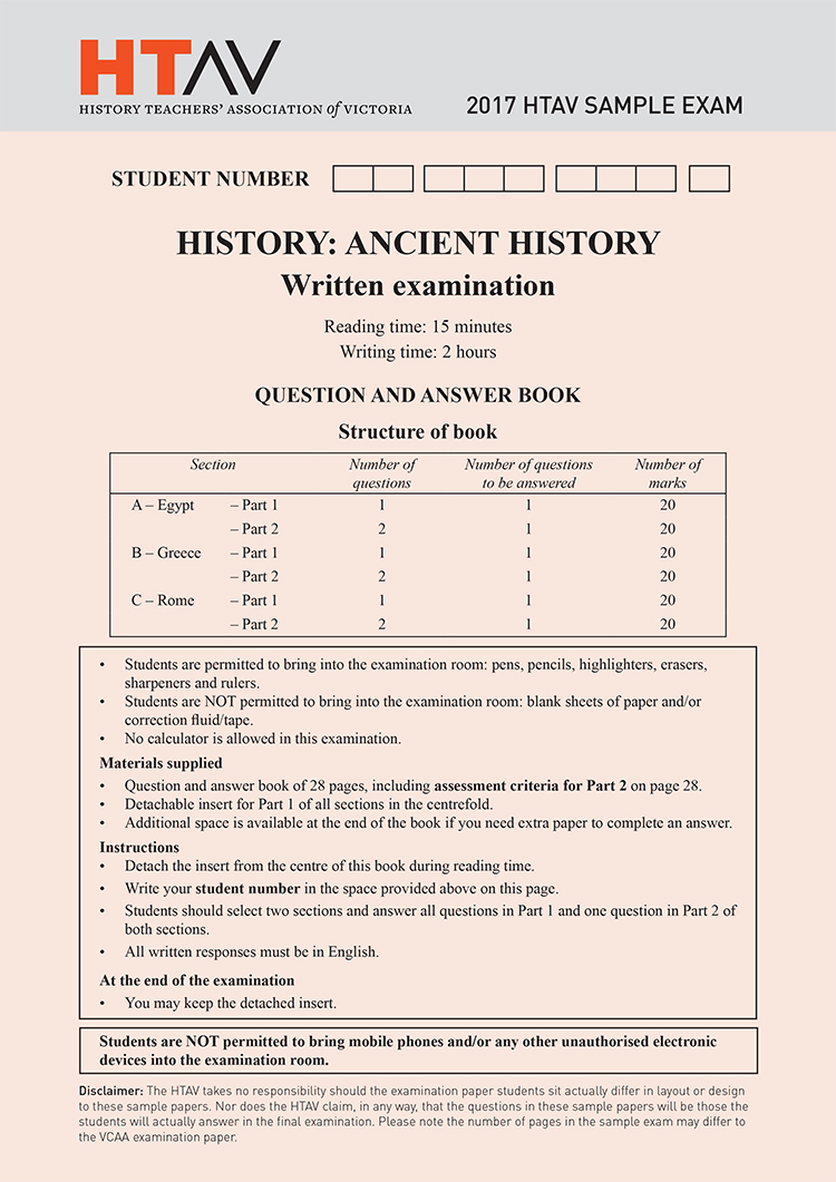 Front cover of 2017 HTAV Ancient History Sample Exam and Responses Guide.