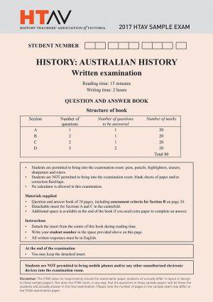 Front cover of 2017 HTAV Australian History Sample Exam and Responses Guide.