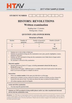 Front cover of 2017 HTAV Revolutions Sample Exam and Responses Guide.