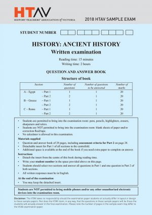Front cover of 2018 HTAV Ancient History Sample Exam and Responses Guide.