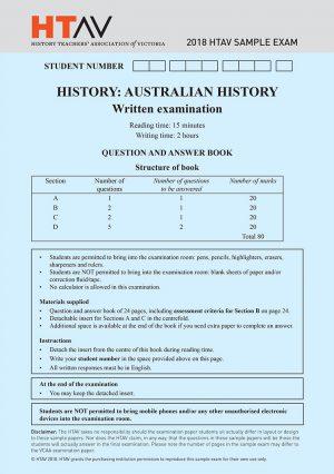 Front cover 2018 HTAV Australian History Sample Exam and Responses Guide.