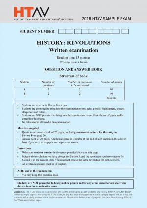 Front cover of 2018 HTAV Revolutions Sample Exam and Responses Guide.