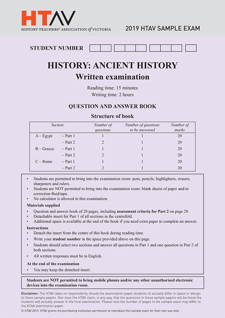 Front cover of 2019 HTAV Ancient History Sample Exam and Responses Guide.