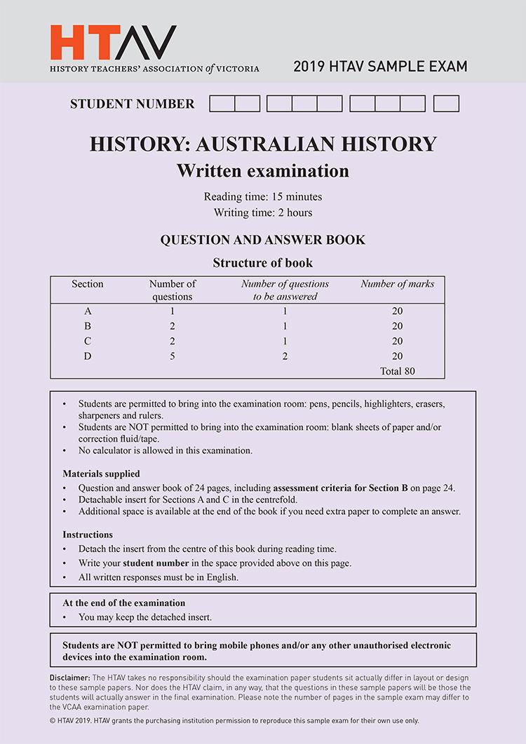 Front cover of 2019 HTAV Australian History Sample Exam and Responses Guide.