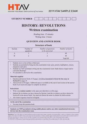 Front cover of 2019 HTAV Revolutions Sample Exam and Responses Guide.