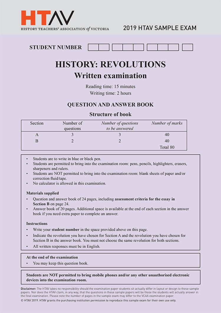 Front cover of 2019 HTAV Revolutions Sample Exam and Responses Guide.