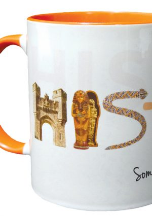 A white mug with an orange handle. The word 'History' is at the centre. Each letter represents a different area of the curriculum.